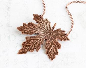 Antiqued Copper Plated Maple Leaf Pendant Necklace (40mm)