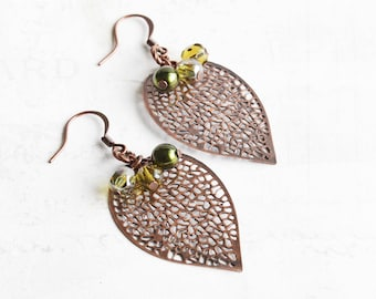 Copper Leaf Earrings, Leaf Dangle Earrings with Green Bead Accents, Antiqued Copper Plated, Autumn Jewelry