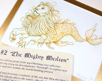 The Mighty Merlion - Mermay 2017 Limited Run Double Matted Giclee Print with Story Scroll