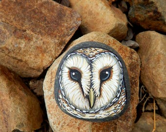 BARN OWL Hand Painted Totem Stones OWLS Rock Art Owl Medicine Forest Animals Spirit Guide Painted Rocks Nature Paintings Tyto Alba