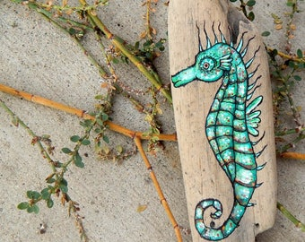 Green SEAHORSE Hand Painted Stones Rock Art OCEAN Animals Spirit Guide Artwork Sea Creatures Driftwood ART Altar Tools Nature Paintings