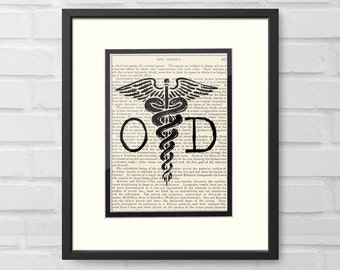 OD Optometrist Caduceus over Vintage Medical Book Page - Great Optometrist Eye Doctor Graduation Gift and Office Decor, OD Gift