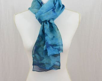 Hand Painted Chiffon Silk Scarf, Blue, Hippie, Gift for her, Watercolor Scarf, Abstract Scarf