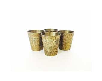 Vintage Etched Brass Shot Glasses / Set of 4