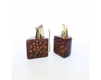 Vintage Wood and Brass Mouse and Cheese Bookends