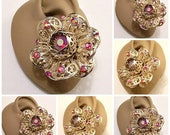 Red Stone Filigree Petal Flower Clip On Earrings Gold Tone Vintage Sarah Coventry Aurora Borealis Extra Large Open Layered Scroll Buttons