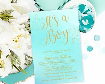 It's a Boy Baby Shower Invitation, Gold Glitter, Blue, Personalized, Printable or Printed