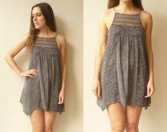 90's Vintage Indian Grey Lace Trim Grunge Hippie Mini Dress Size S/M