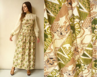 1970's Vintage Floral Art Nouveau Print Gypsy Victoriana Style Bohemian Maxi Dress Size Small