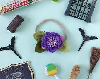 Single Flower Headband or Alligator Clip // Halloweentown Purple, Fall Carnation Felt Flower