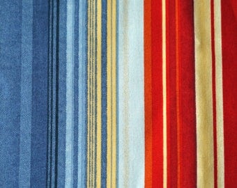 1 YARD, Blue Red Tan Stripe Print, Quilting Cotton or Craft Fabric, Michael Miller, Colorband 1257, Vertical, B4