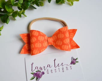 READY TO SHIP, Orange Pumpkins Fabric Felt Bow on Nylon Headband or Clip, Newborn, Smash Cake, Sparkle Bow Clip, Toddler, First Birthday