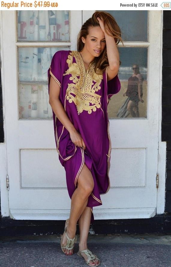 Autumn Dress 20% OFF/ Royal Purple with Gold Marrakech Resort Caftan Kaftan -beach cover ups, resortwear,loungewear, maxi dresses, birthdays