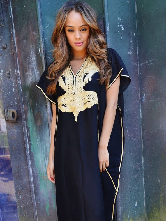 Set of 9 Bridesmaid robes,Bridesmaid gifts, Black Gold Marrakech One Size Moroccan Kaftan-Beach wedding, bridal shower party, baby shower