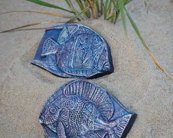 Tropical Fish, Beach Stone Art Wall Plaques, Fish Sculptures, Ocean Home Decor, Pair of Fish, Carved Blue Fish