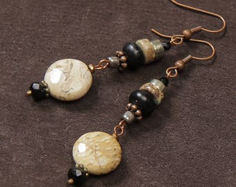 Zahara earrings: fossil stone, onyx, pyrite, jasper, copper