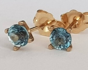 Blue Topaz Stud Earrings, 14k Yellow Gold, December Birthstone, Handmade