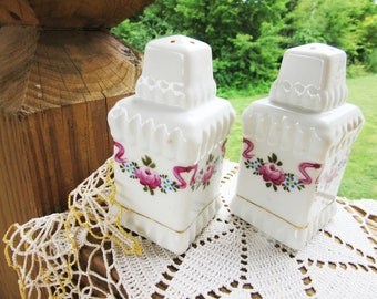 Made in Japan/ Nippon Handpainted Cottage Rose and Ribbons/ China Glass Salt and Pepper Shakers