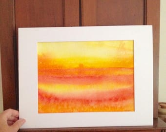 ORIGINAL abstract art watercolor painting, orange and yellow, matted 11x14, Sunrise