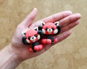 Featured: 2 Pack BUNDLE of Lil' Red Pandas! | Little Lazies | 2 Miniature Red Panda Polymer Clay Sculptures | Handmade | Thank You!
