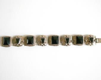 Black Onyx Stone Alpaca Sterling Bracelet