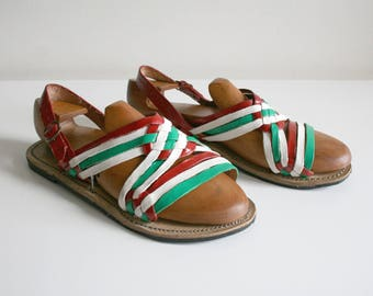 Painted Red Green Leather Huarache Sandals 9