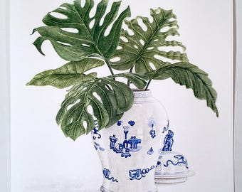 Tropical Leaves Original Watercolor Painting 11X14