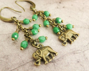 Elephant earrings, green dangle earrings, wildlife jewelry, greenery, long earrings, fall earrings, autumn jewelry