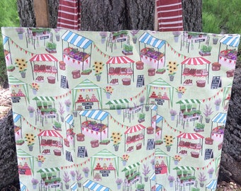 Shop Local , Farmers Market Bag , Laminated Cotton