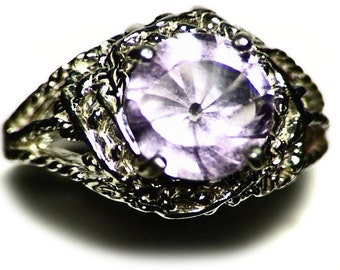 Pink Amethyst Ring Size 7 Sterling Silver (2.24 ct) Fantasy Cut Amethyst Solitaire Ring, Round Amethyst Jewelry, Concave Cut Round Eye Ring