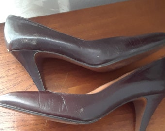 1950s Pappagallo Brown Leather Pumps, Heels, 1960s, Shoes, Size 8.5M