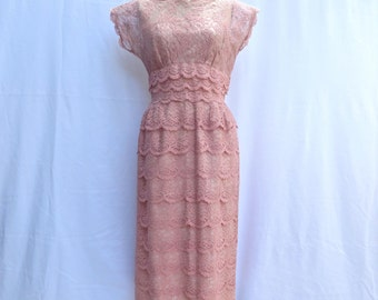 "Vintage 1950's/Pink Lace Wiggle Dress/50's Pink Lace Tiered Dress/Ferman OGrady/Lace Illusion Dress/35"" Waist/Large"