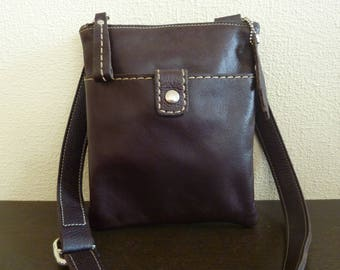 Vintage Genuine Roots Canada Womens Leather Handbag  - Brown Pebbled Leather Crossbody Bag