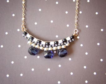 Black and white beaded 14k gold filed necklace