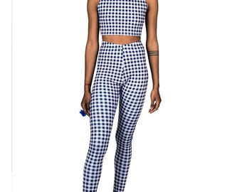 Blue Gingham Leggings