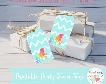 Unicorn Favor Tags INSTANT DOWNLOAD, Unicorn Birthday Party, Unicorn Baby Shower, Unicorn Gift Tags, Unicorn Printable Party Decorations