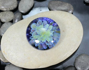 Twilight Bloom Cabochon - Lampwork Glass - Jewelry Making Supply - 24mm