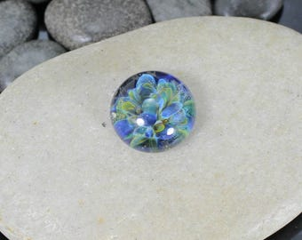 Blue Garden Mini Lampwork Glass Cabochon - 13mm - Jewelry Making Supply
