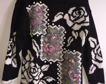 Vintage Women's Cable Knit Sweater By Rebecca Stone Medium Oversized RN#74978