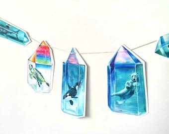 Aura Crystal Animals Paper Garland - Crystal Orca - Polar Bear - Sea Turtle - Shark