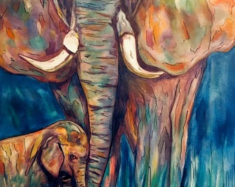 Elephants original art oil painting animals canvas Sandra Cutrer Fine Art