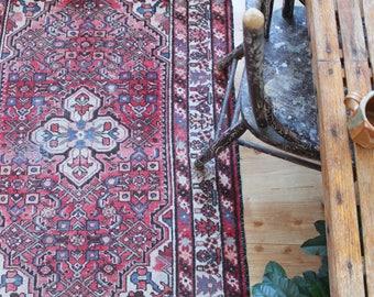 vintage Persian rug, earthy rustic pink and blue rug, happy bohemian  wool rug
