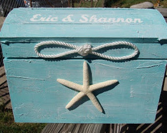 Small Personalized Aqua Nautical Theme Beach Wedding Card Box Treasure Chest Unity Sailor Rope Knot White Finger Starfish Sand Dollar Accent