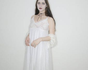 80s pale goth 2 piece sheer lace set