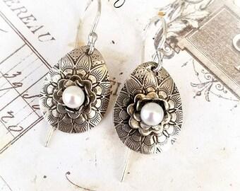Pearl Floral Sterling Teardrop Embossed Earrings