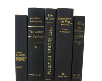 Decorative Hardcover Books, Living Room Decor, Rustic Decor, Vintage  Black Books , Black Old Books , Black Vintage Book Set ,