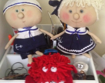 Two Cloth dolls for interior decoration or play. Sweet darlings and summer  vacation.