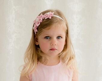 Pink girl headband - Blush pink flower girl headband - infant headbands - Baby flower headband - First birthday headband