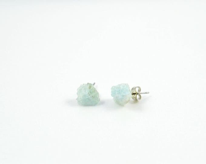 Aquamarine Raw Crystal Stud Earrings, Aquamarine Earrings, March Birthstone Earrings, March Birthstone Jewelry, Aquamarine Birthstone Studs