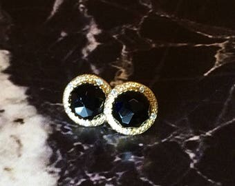 Stud onyx earrings ,Boho stud earrings ,Black onyx gold earrings. Onyx post,